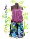 Rochita scurta, cu top din tricot si fusta incretita, multicolora