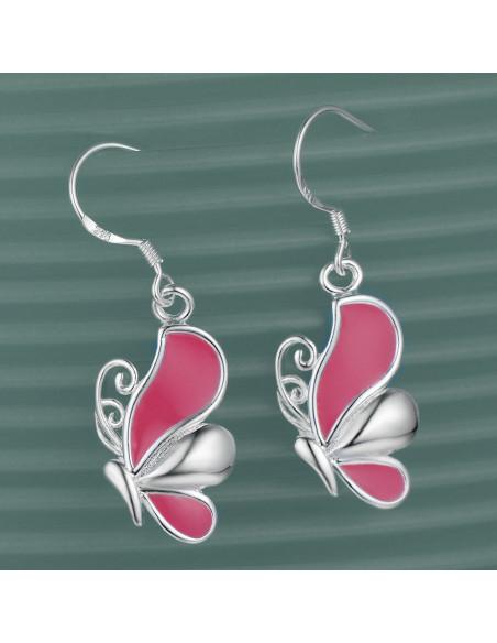 Cercei placati cu argint, fluturasi cu aripi roz