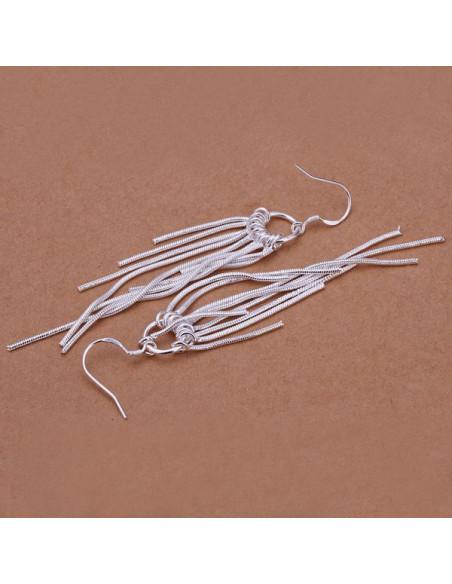 Cercei placati cu argint, cu franjuri subtiri din lantisor