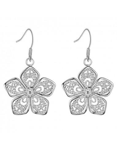 Cercei placati cu argint, flori filigranate cu cinci petale