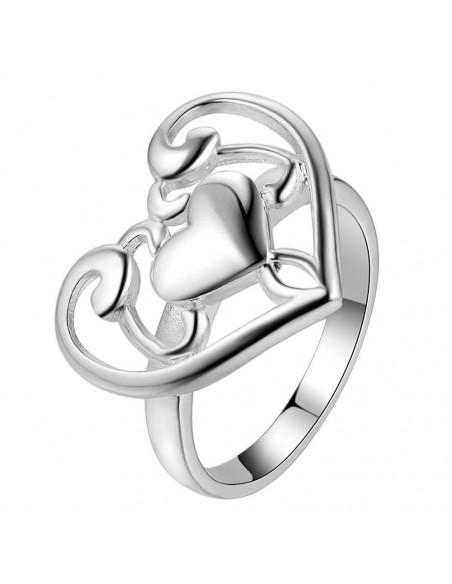 Inel cu inimioare concentrice, model inflorat, placat cu argint
