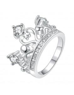 Inel Love Queen cu inimioare si zirconii, placat cu argint
