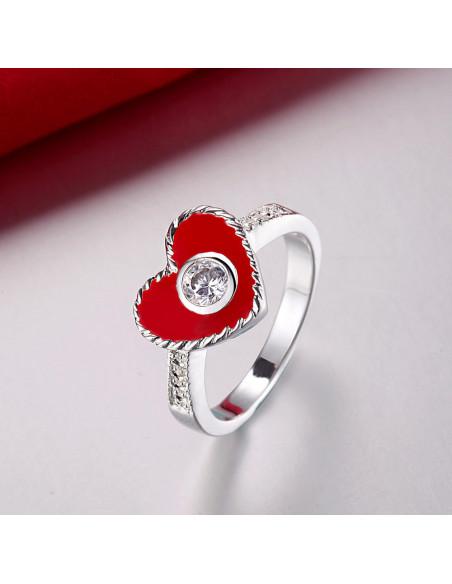 Inel placat cu argint, inimioara rosie din email si zirconii stralucitoare