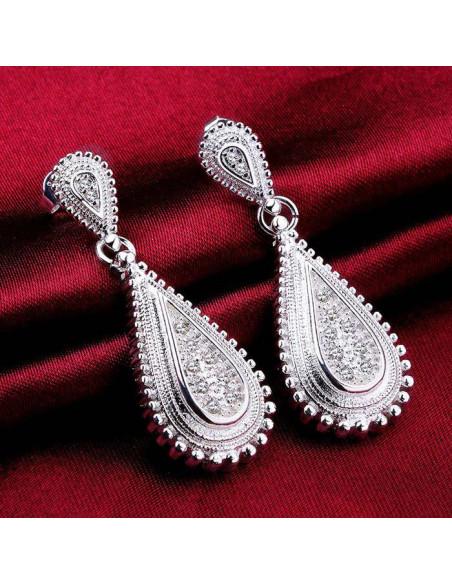 Cercei de mireasa placati cu argint, model picatura cu cristale