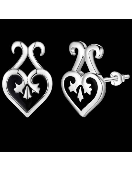 Cercei model baroc placati cu argint, inimioare negre cu email