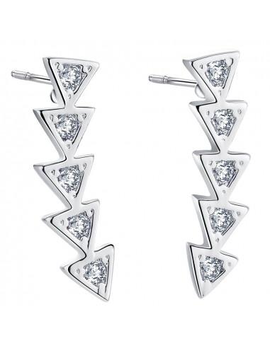 Cercei placati cu argint, cinci triunghiuri si cristal zirconia