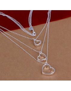 Colier multilayer triplu, placat cu argint, lantisoare cu inimioare late
