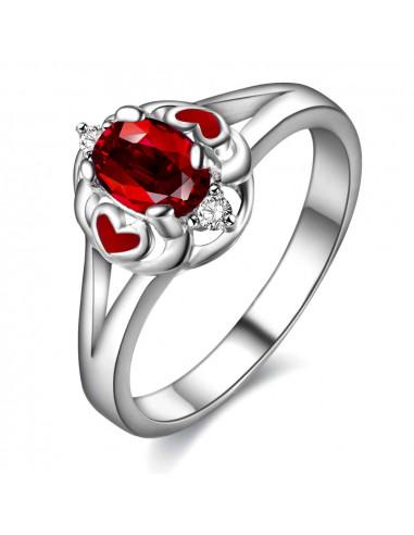 Inel placat cu argint, cu zirconie cubica rosie si 2 inimioare mici