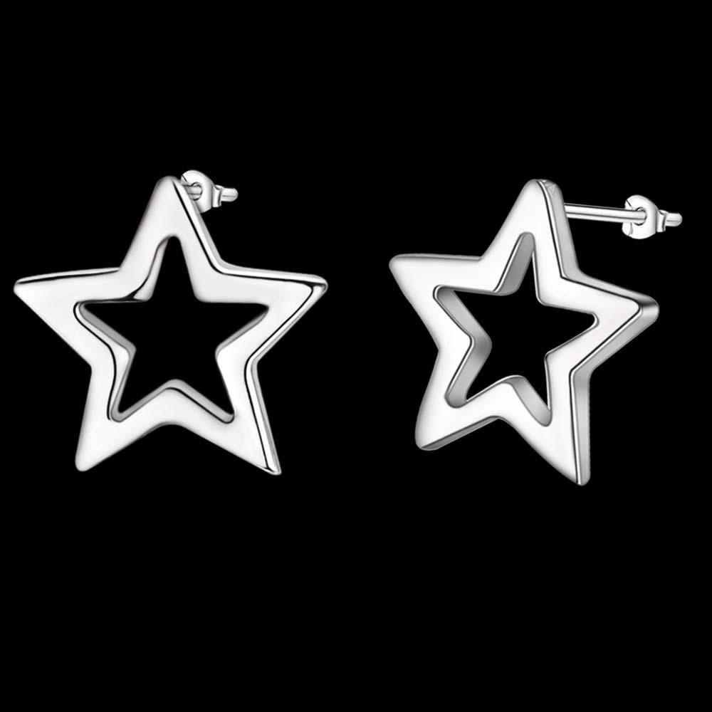 Cercei placati cu argint, stelute minimal simple