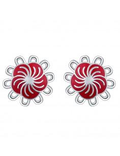 Cercei placati cu argint, flori cu decor rosu spiralat din email