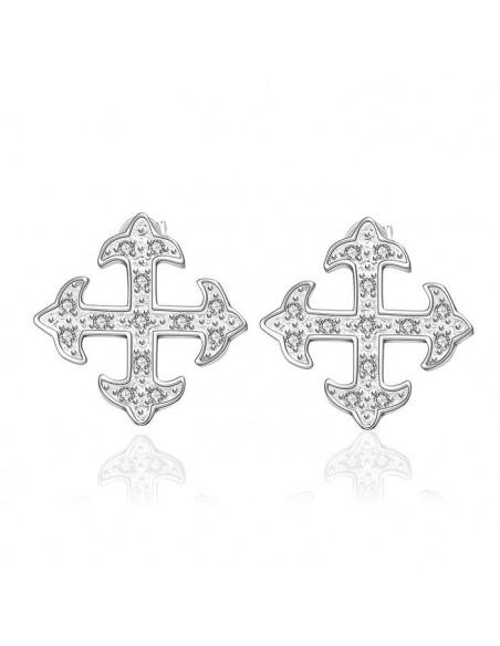 Cercei placati cu argint, cruciulite cu cristale zirconia albe