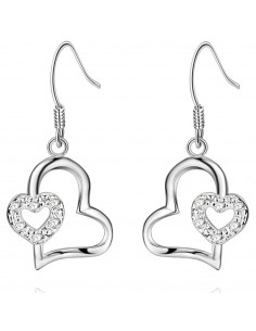 Cercei delicati placati cu argint, 2 inimioare cu zirconii mici