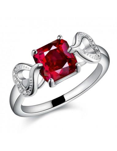 Inel placat cu argint, zirconie cubica patrata rosie si 2 inimioare
