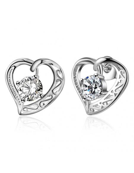Cercei cu inimioare si zirconii cubice rotunde, placati cu argint