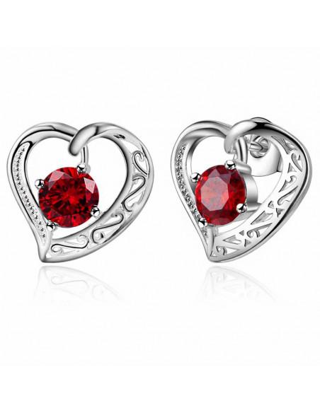 Cercei placati cu argint, inimioare si zirconii cubice rotunde colorate