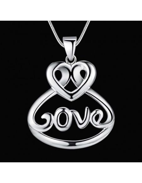 Pandantiv LOVE cu inimioara rasucita si lantisor, placat cu argint