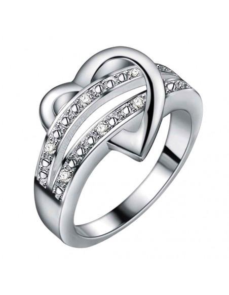 Inel placat cu argint, inimioara cu doua benzi de cristale albe