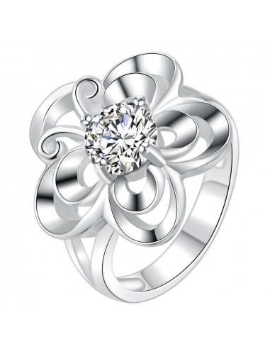 Inel placat cu argint, fluture cu cristal asezat pe floare