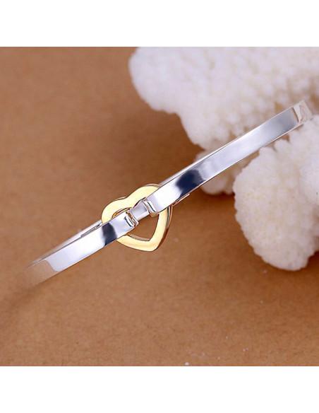 Bratara rotunda tip cuff, placata cu argint, cu inimioara aurie