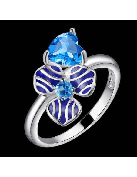 Inel placat cu argint, floare cu email albastru si cristal aquamarin