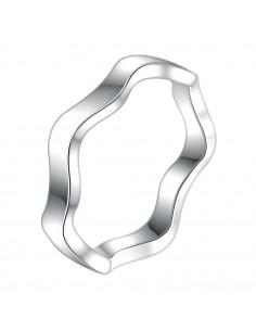 Inel placat cu argint, veriga simpla in valuri