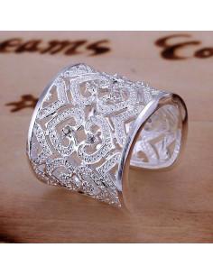 Inel lat placat cu argint, model baroc cu inimi si zirconii albe
