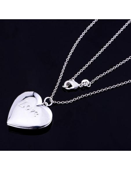 Pandantiv placat cu argint, inimioara care se deschide, pentru poze
