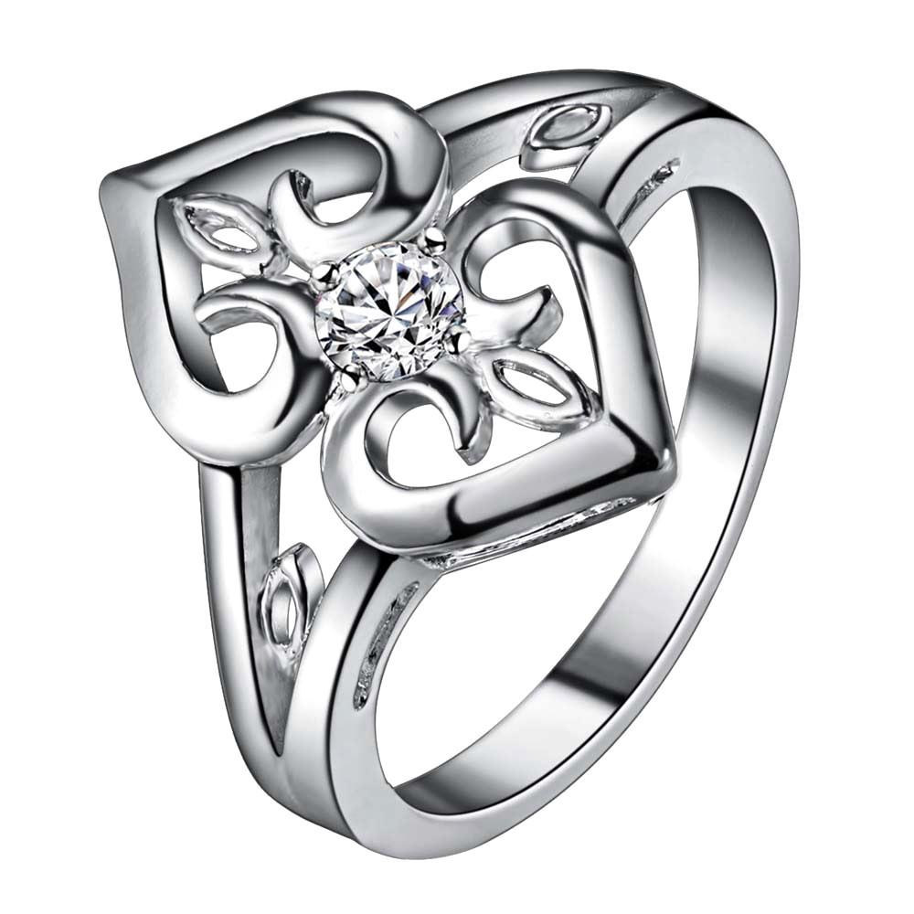 Inel placat cu argint, doua inimi cu cristal alb de zirconie cubica