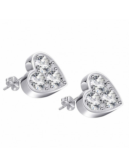 Cercei placati cu argint, inimioare groase cu 3 zirconii cubice albe