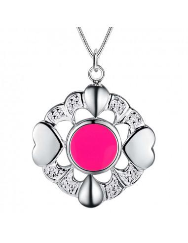 Medalion cu lantisor placat cu argint, inimioare cu disc roz