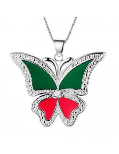 Lantisor cu fluture placat cu argint, rosu cu verde si cristal
