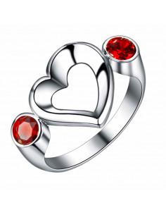 Inel placat cu argint, inimioara asimetrica si 2 zirconii rotunde rosii