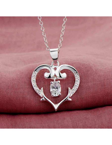 Pandantiv placat cu argint, inimioara inflorata, cu zirconie ovala