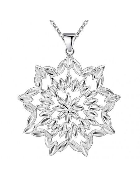 Lantisor cu medalion argint floare abstracta cu petale fatetate