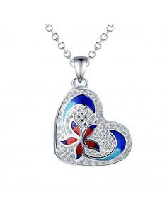 Pandantiv placat cu argint, inimioara 3D cu floare din email colorat