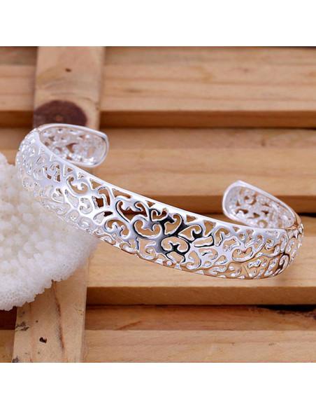 Bratara cuff, placata cu argint, model filigranat cu inimioare