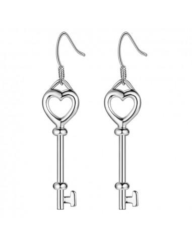 Cercei minimal placati cu argint, chei in forma de inimioara