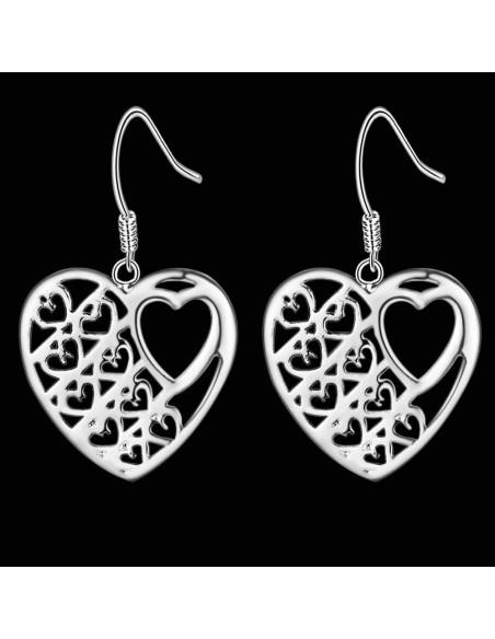 Cercei minimal placati cu argint, inimi plate cu inimioare mici decupate