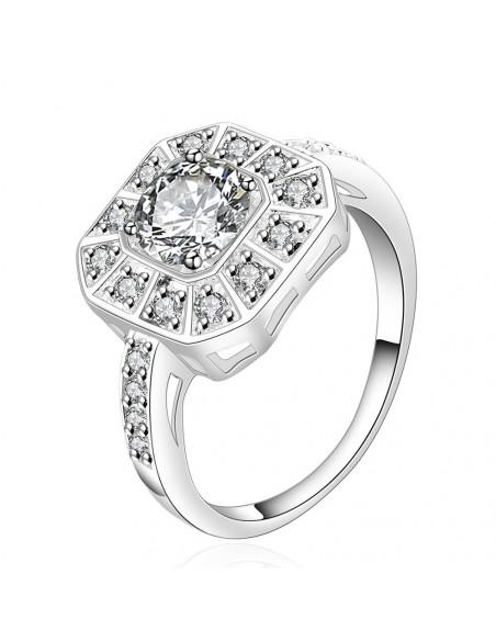 Inel de logodna placat cu argint, zirconii albe cu taietura briliant