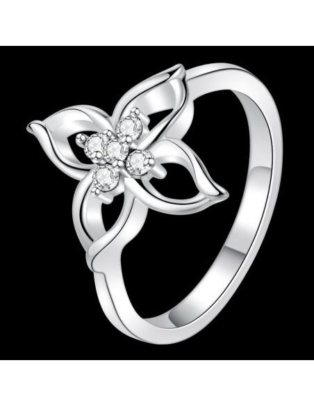 Inel placat cu argint, floare cu cinci zirconii si patru petale