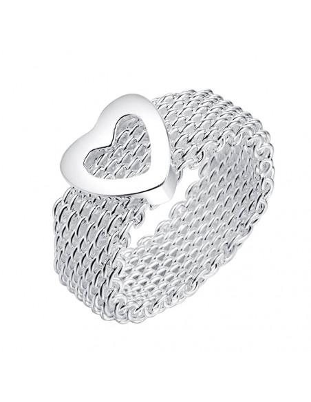Inel lat placat cu argint, model impletit flexibil cu inimioara