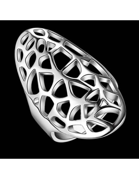 Inel lung placat cu argint, model oval cu decupaje abstracte