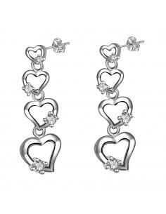 Cercei placati cu argint, patru inimioare cu cristale de zirconie cubica