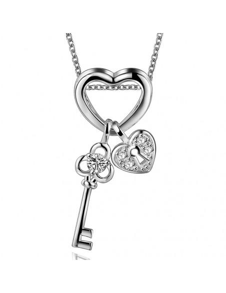 Pandantiv placat cu argint, cheie cu doua inimi si zirconii albe
