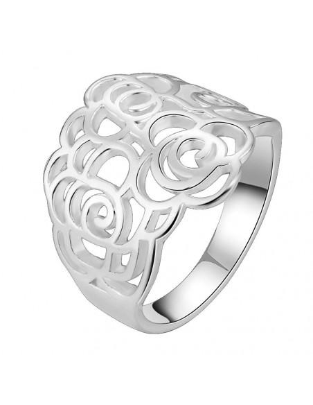 Inel placat cu argint, model cu trandafiri decupati baroc