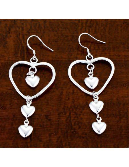 Cercei lungi placati cu argint, 3 inimi mici pe o inima mare subtire