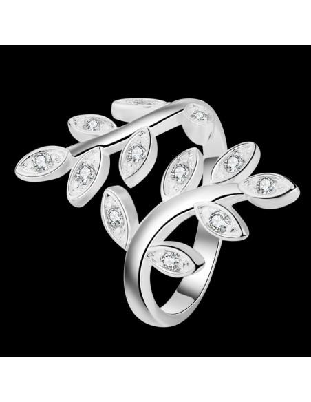 Inel placat cu argint, ramura de maslin infasurata pe deget, cu cristale