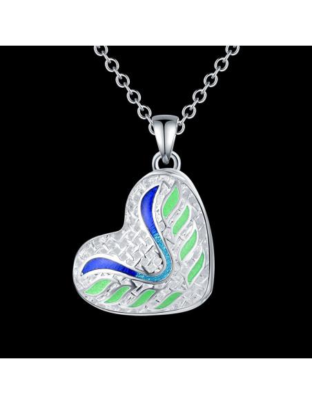 Pandantiv placat cu argint, inimioara 3D cu model din email colorat