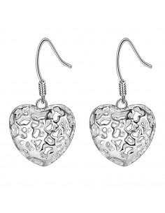 Cercei eleganti placati cu argint, inimi 3D cu model filigranat inflorat