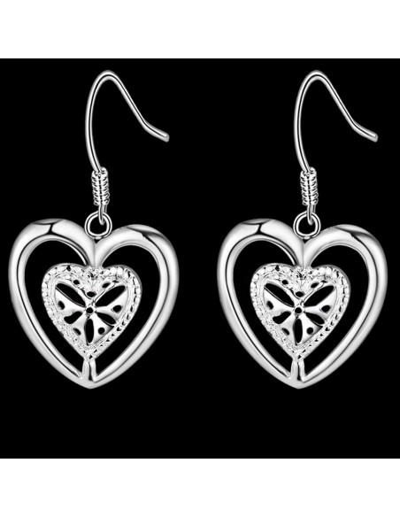 Cercei placati cu argint, inimioare concentrice cu floare in mijloc